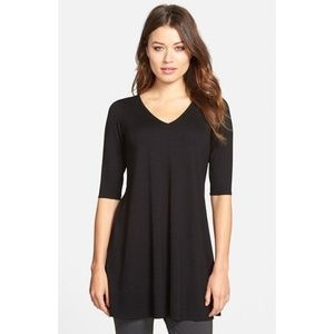 Eileen Fisher | V-Neck Jersey Tunic Top size Large